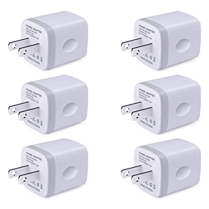 Single USB Port Wall Charger, UorMe 1A/5V Wall Charger Plug USB Power Adapter 6 Pack for Phone Xs/XS/Max/XR/X/8/7/6S/6S /6 Plus/6/5S/5,Samsung Galaxy ...