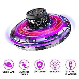 Flying Toy, FlyNova Flying Drones Toys Hand Operated Drones for Kids or Adults Stress Relief Interactive Cool Toys Rechargeable Scintillating RGB Light Mini UFO Drones for Indoor Outdoor Games
