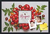 PinPix decorative pin cork bulletin board made from canvas, Recipe Board with Farmers Tomatoes 30x20 Inches (Completed Size) and framed in Satin Black (PinPix-Group-36)