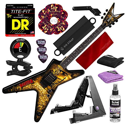 Dean Dimebag Pantera Southern Trendkill ML Electric Guitar with Guitar Stand, Tuner, Strings, Picks and Complete Accessory Bundle (Bolt Dean Dime Black)