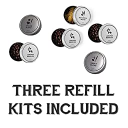 The Homemade Gin Kit Cocktail Refills - Includes Original Blend Gin Kit Refill, Smoky Blend Gin Kit Refill, and Spicy Blend Gin Kit Refill - Enough to Make 6 Batches