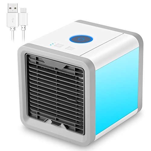 NEXGADGET Portable Air Conditioner, 3 in 1 USB Mini personal Air Conditioner, Humidifier, Purifier,Desktop Cooling Fan with 7 Colors LED Night Light for Office, Home, Outdoor Travel by NEXGADGET