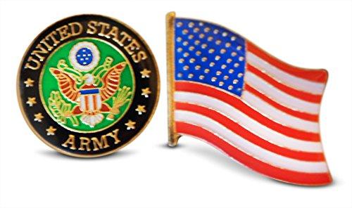 Patriotic U.S. Army & American Flag Lapel or Hat Pin & Tie Tack Set with Clutch Back by Novel Merk