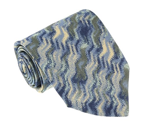 - Missoni U1532 Blue/Green Sharkskin 100% Silk Tie for mens