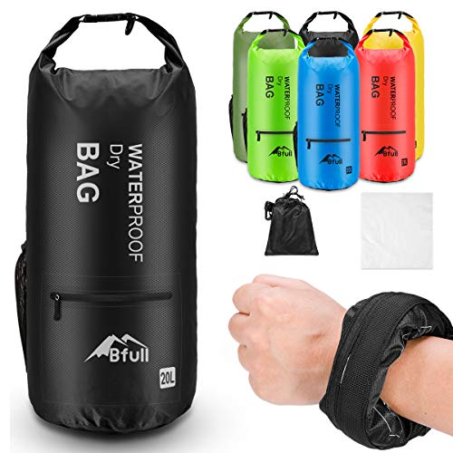 BFULL Waterproof Dry Bag 5L/10L/20L/30L/40L [Lightweight Compact] Roll Top Water Proof Backpack with 2 Exterior Zip Pocket for Kayaking, Boating, Duffle, Camping, Floating, Rafting, Fishing (Black)
