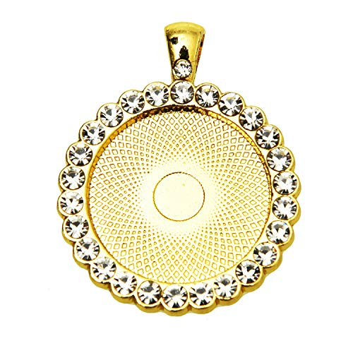 Monrocco 10Pcs Gold Plated 25mm Rhinestone Pendant Trays Round Bezel Pendant Trays Blank Bases for Jewelry Making