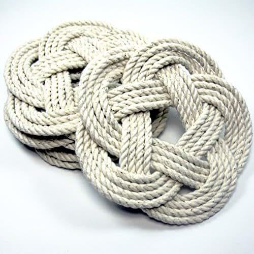Natural White Cotton Nautical Sailor Knot Coasters Set of 4
