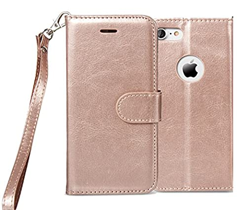 iPhone 6S Case , iPhone 6 Case, Alkax Premium PU Leather Wallet Kickstand Magnet Flip Folio STAND Protective Cover with Credit Card ID Card Slots Wrist Strap for Apple iPhone 6+1 Stylus Pen(Rose (Cheap Iphone 5 Speck Cases)