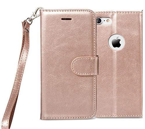 iPhone 6S Plus Case, iPhone 6 Plus Case, Alkax Premium PU Leather Wallet Magnet Flip STAND Protective Cover with Credit Card ID Card Slots Wrist Strap for Apple iPhone 6 Plus +1 Stylus Pen (Rose Gold) (Windows 7 Korean compare prices)
