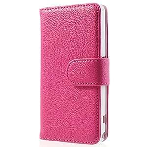 Mobile24 Funda tipo Libro para Sony Xperia Z1 Compact, con Parte para Guardar Tarjetas de Visita y de Crédito, Carcasa, Cover con función de Soporte - Estilo Cartera - Rosa Fuerte