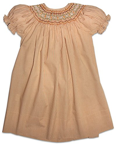 Rosalina Girl's Beige Tiny Gingham English Hand Smocked Fall Bishop Dress 3T