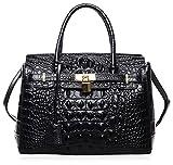 PIJUSHI Women's Padlock Handbags Genuine Leather Tote Crocodile Bag Best Holiday Gift P10103 (30CM crocodile black)