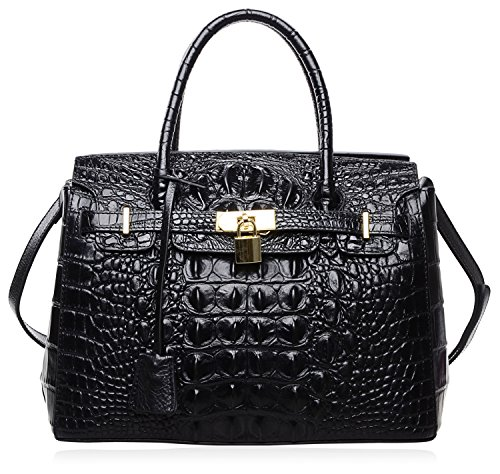 PIJUSHI Women's Handbags Crocodile Top Handle Satchel Bags Designer Padlock Handbags For Women (P10103 Crocodile Black)