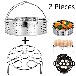 Steamer Basket With Egg Steamer Steamer Rack For Instant Pot & Pressure Cooker Accessories, Vegetable Steam Rack Stand. Fits Instant Pot 5,6,8 Qt Pressure Cooker, Stainless Steel, 2 Pieces
