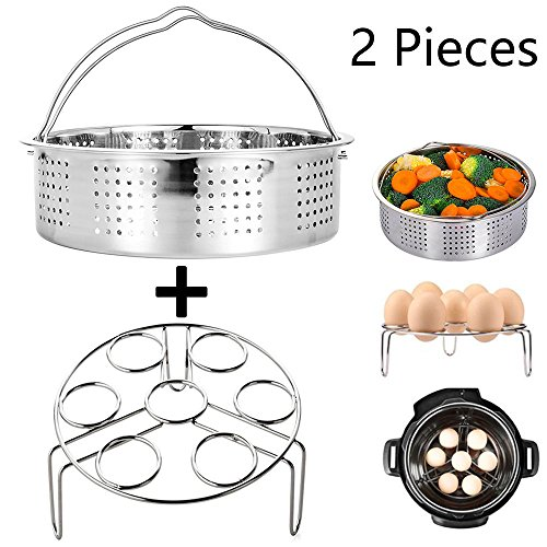 Steamer Basket With Egg Steamer Steamer Rack for Instant Pot and Pressure Cooker Accessories, Vegetable Steam Rack Stand. Fits Instant Pot 5,6,8 qt Pressure Cooker, Stainless Steel, 2 Pieces