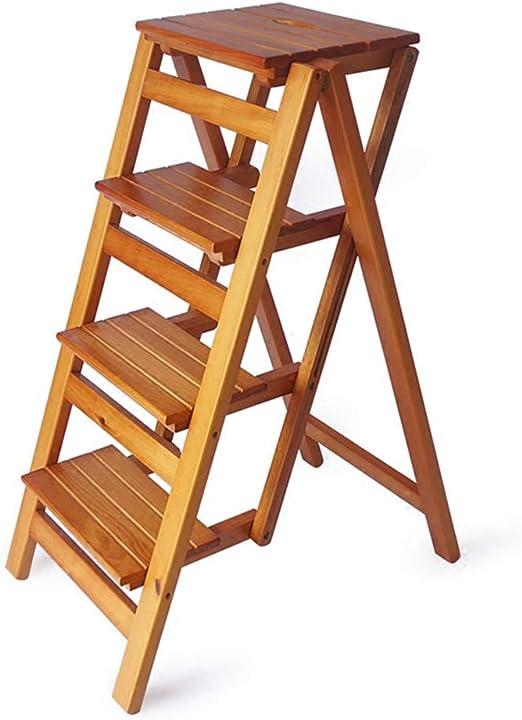 Escalera plegable de 4 peldaños, taburete de bar portátil para ...