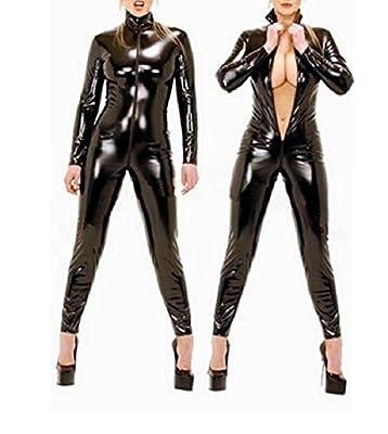 Sorrica Women's Sexy Pu Faux Leather Catsuit Teddy Clubwear