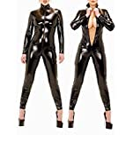 Sorrica Women's Sexy Pu Faux Leather Catsuit Teddy Clubwear (L, Black)