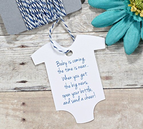 Baby is Coming Favor Tags - Navy and White Baby Suit Shower Labels for Wine Bottles (Set of 20)