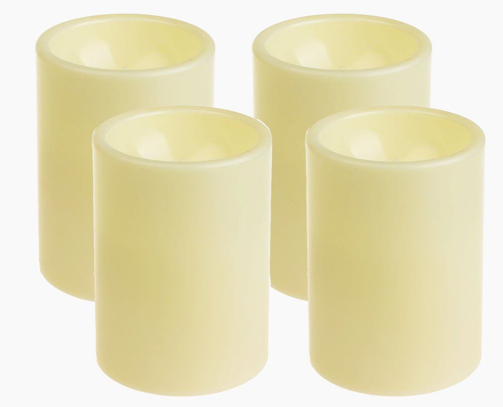 GiveU Flameless Outdoor LED Candle Set, Battery Operated Plastic Pillar Flickering Candle Light with Timer, 3 x 4, Ivory,Pack of 4