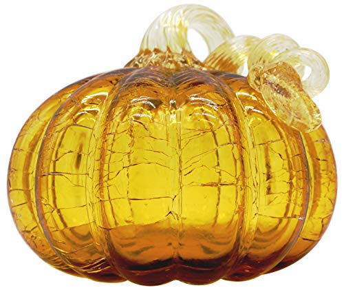 Vicreatwin Hand Blown Glass Pumpkin Collectible Table Accent for Fall Harvest Halloween Thanksgiving Decorating Ellipse Ornament 5.1 Inch Yellow ()