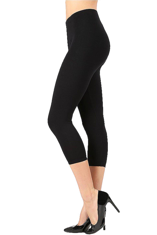 UNU Style Premium Ultra Soft Cotton 15 inch Capri & Regular Capri Leggings (R-Black, Large)
