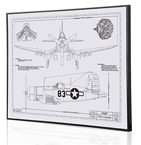 Vought F4U Corsair Blueprint Artwork-Laser Marked & Personalized-The Perfect Navy Gifts