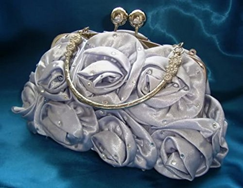 Satin Silk Rose Diamante Flower Wedding Evening Handbag Party Clutch prom 12 Colours (BURNT ORANGE) SILVER