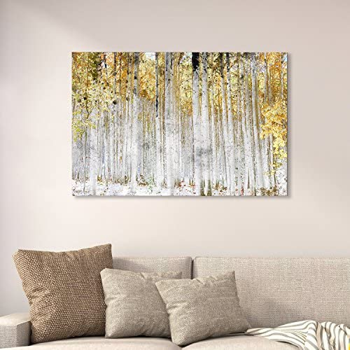 Abstract Trees with Yellow Leaves Wall Decor