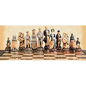 House of Staunton American Civil War Hand-Painted Chess Pieces by Studio Anne Carlton, Poly Resin