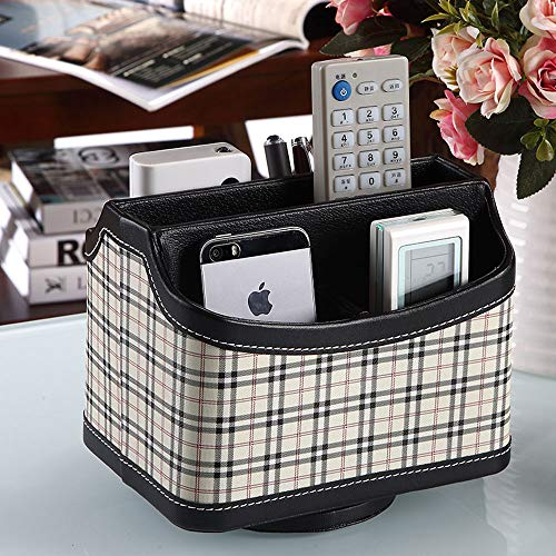LCTZWJ Luxury Creative Designed Desktop Organizer Remote Control Holder Stand with - Controller Manager,Store Your Makeup, Smartphone, DVD, Blu-Ray or TV Remotes - PU Leather Storage Box (Color : D)