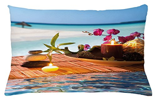 Lunarable Zen Throw Pillow Cushion Cover, Far East Meditation Items Rocks Candles Scented Spices Tropical Background Photograph, Decorative Accent Pillow Case, 26 W X 16 L Inches, Multicolor