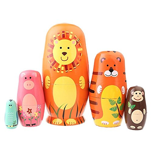 SUNONE11 5pcs Cartoons Nesting Dolls Animal Figures Bear Tiger Pig Monkey Bird Handmade Wooden Russia Matryoshka Home Decoration Thanksgiving Toy Gift from SUNONE11