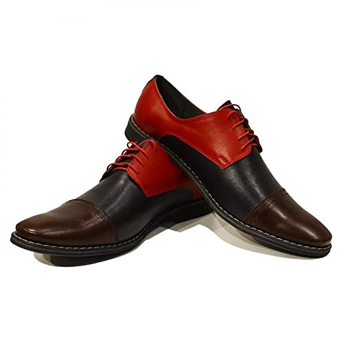 Modello Celestino - 41 EU - Cuero Italiano Hecho A Mano Hombre Piel Vistoso Zapatos Vestir Oxfords - Cuero Cuero Suave - Encaje xVuhMCkzv