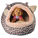 Auwer Lovely Deer Shape Collapsible Pet Dog Bed Teddy Puppy Cat Indoor House Soft Warm Removable Cushion Kennel Waterproof Bottom Doggy Cave Bag Nest Hiding Kitten Shelter Plush Cozy Mat Pad Blanket