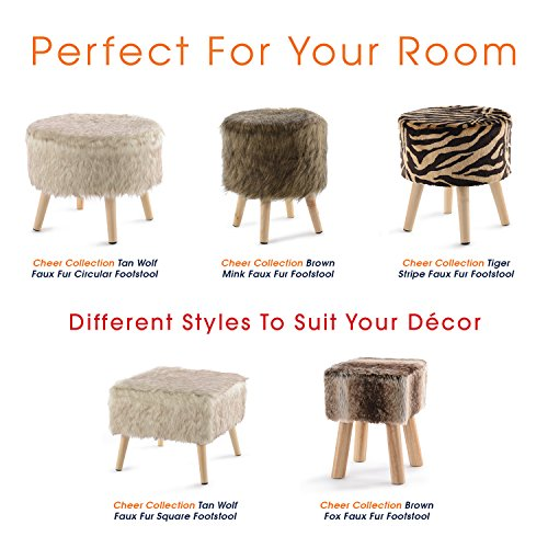 Cheer Collection 13'' Round Ottoman | Super Soft Decorative Tiger Print Faux Fur Foot Stool with Wood Legs by Cheer Collection (Image #7)