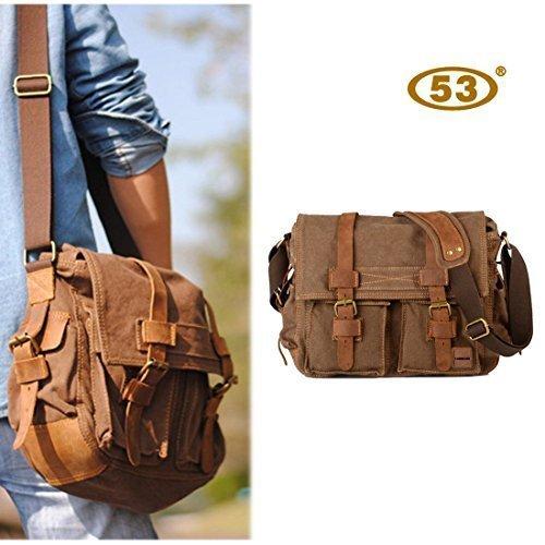8016b308593 53 Vintage Military Men Canvas Messenger Bag Shoulder Laptop - Import It All