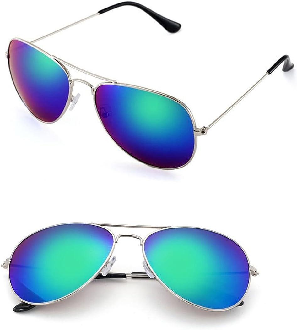 Fashion Culture Unisex Drive Blue Mirrored Lens Aviator Sunglasses, Silver