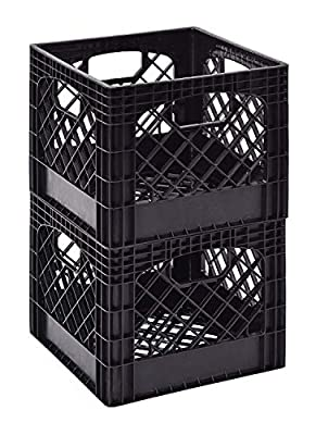 "Muscle Rack MK131311-B2PK 11"" x 13"" x 13"" Black Milk Crate"