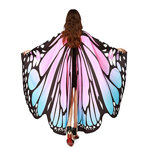 Pink Wings Chiffon Angel (MEIQING Women's Butterfly Wings Swimsuit Bikini Beach Cover Ups Angel Wings Adult Costume Accessory)