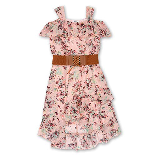 Speechless Girls' Big Sleeveless Belted Boho Dress, Pink Mint, 16 -