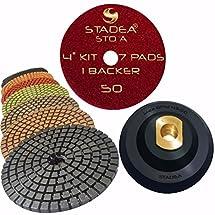 "STADEA Premium Grade Wet 4"" Diamond Polishing Pads Set + Rubber Backer For GRANITE MARBLE STONE"