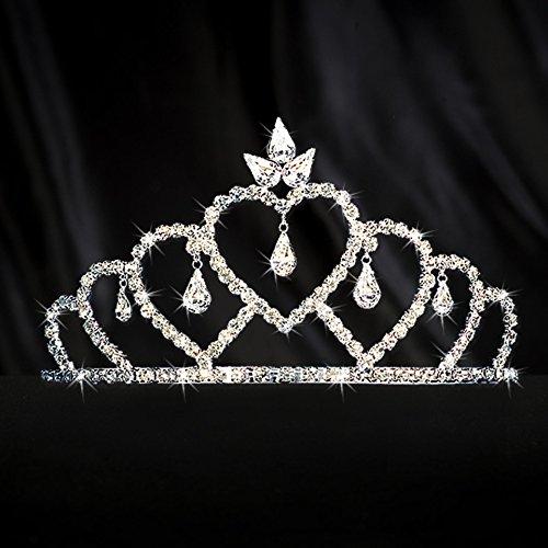 Shindigz Silver Cascading Heart Tiara Princess Queen Crown