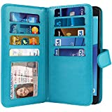 NEXTKIN Galaxy J7 2017 Sky Pro Case, Leather Dual Wallet Folio TPU Cover, 2 Large Pockets Double flap, Multi Card Slots Snap Button Strap For Samsung Galaxy J7 2017/J7V J727 Sky Pro Perx - New Teal