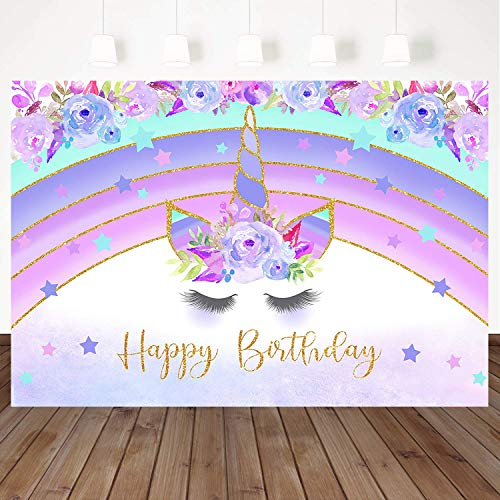 c0f160cd5834a Mehofoto Purple Rainbow Unicorn Photography Backdrop Flower Happy ...