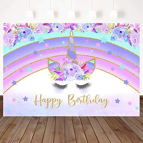Mehofoto Purple Rainbow Unicorn Photography Backdrop Flower Happy Birthday Background 7X5ft Vinyl Flash Star Kids Birthday Party Backdrops Photo Booth Banner Decoration Studio Background Props]()