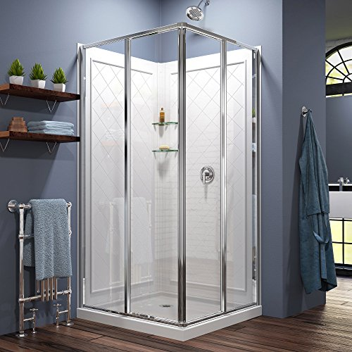 DreamLine Cornerview 36 in. D x 36 in. W  x 76 3/4 in. H Sliding Shower Enclosure in Chrome with White Base and Backwall Kit, DL-6150-01 ()