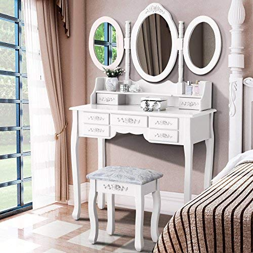 Mecor Vanity Table Set Tri-Folding Mirror, Makeup Dressing Table 7 Drawers Storage Wood Vanity Set w/Stool Bedroom Furniture for Girls Women White