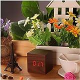 Wooden Alarm Clock -USB Digital Retro Alarm Clock - Cube Wooden Desktop Home Decoration - Mini Travel Clock (Red Brown)