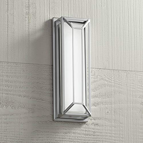 """Radcliffe Modern Outdoor Wall Light Fixture LED Matte Nickel Geometric 16"""" Frosted Glass for Exterior House Porch Patio - Possini Euro Design"""